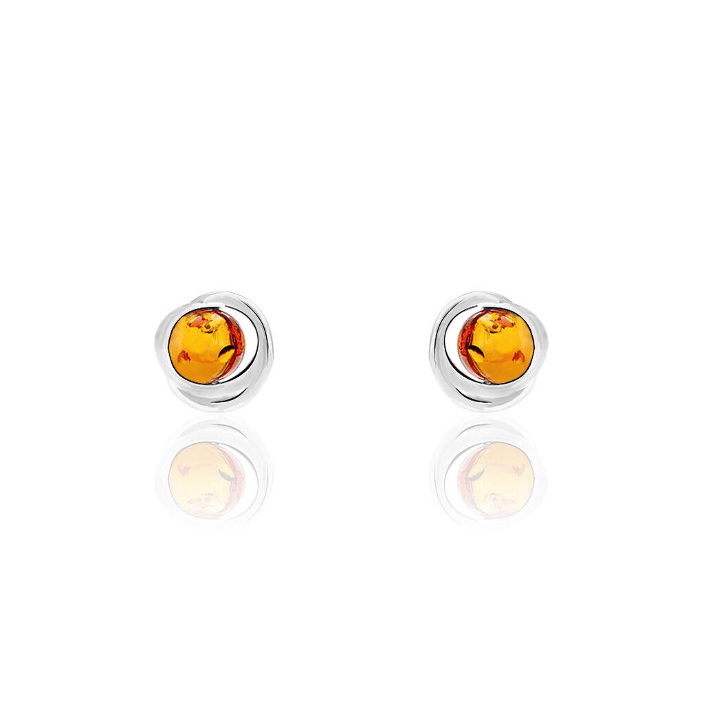 Boucles D'oreilles Pendantes Franjo Argent Blanc Ambre - Boucles d'oreilles fantaisie Femme | Histoire d'Or