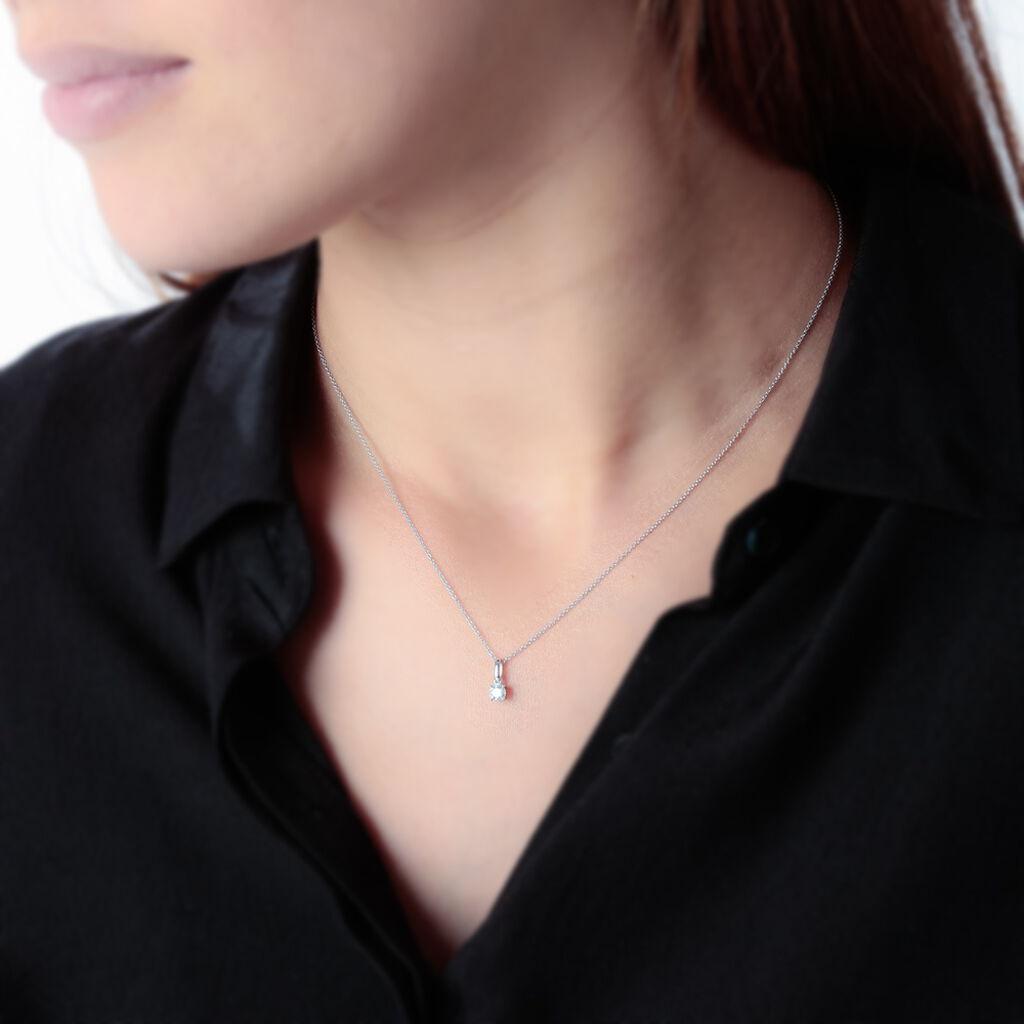 Pendentif Meliya Or Blanc Diamant - Pendentifs Femme   Histoire d'Or