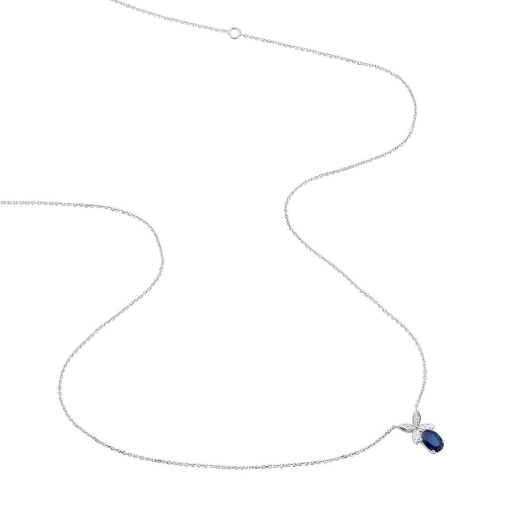 Collier Andrey Or Blanc Saphir Et Diamant - Colliers Croix Femme | Histoire d'Or