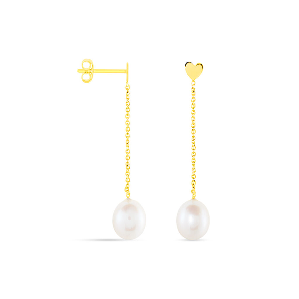 Boucles D'oreilles Pendantes Kandida Or Jaune Perle De Culture - Boucles d'Oreilles Coeur Femme | Histoire d'Or