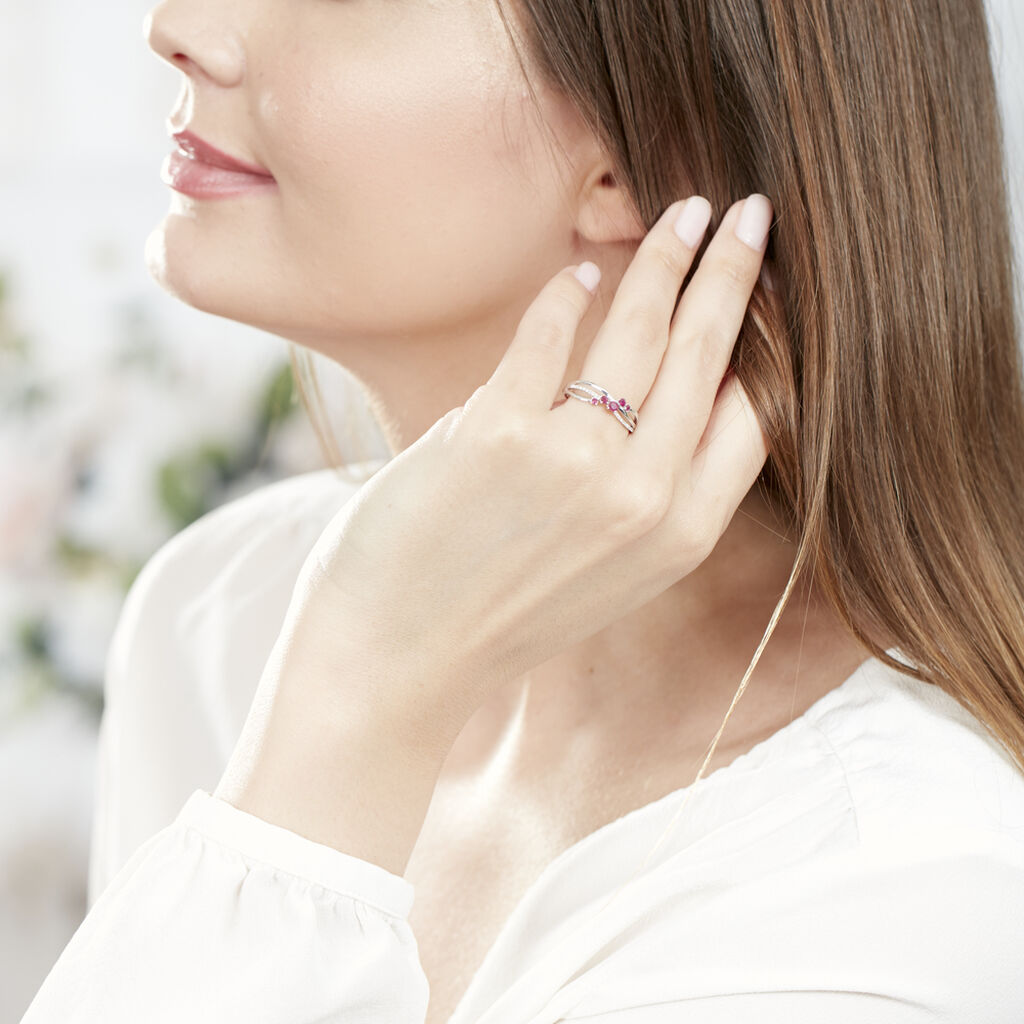 Bague Amarylis Or Blanc Rubis Diamant - Bagues avec pierre Femme   Histoire d'Or