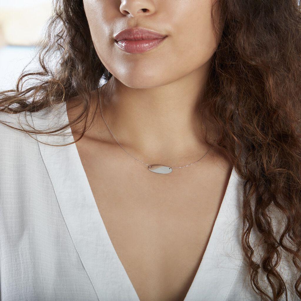 Collier Ovale Gravable Or Blanc - Bijoux Femme   Histoire d'Or