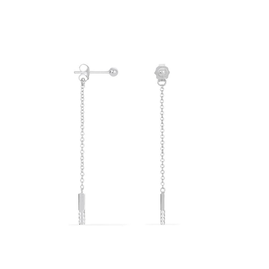 Boucles D'oreilles Pendantes Yara Argent Blanc Oxyde De Zirconium - Boucles d'oreilles fantaisie Femme | Histoire d'Or