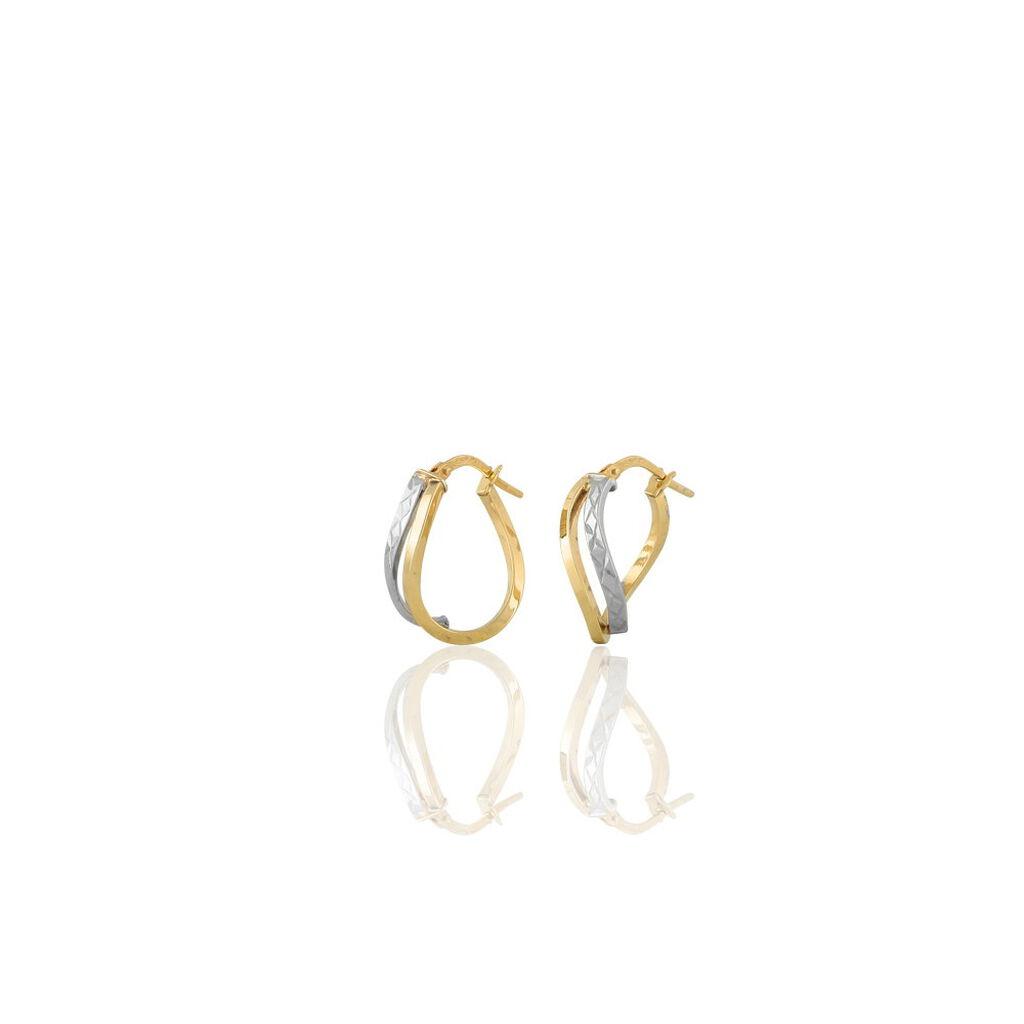 Créoles Hera Vrillees Fils Carres Or Bicolore - Boucles d'oreilles créoles Femme | Histoire d'Or