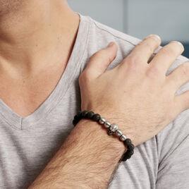 Bracelet Leto Acier Blanc Pierre De Lave - Bracelets fantaisie Homme | Histoire d'Or