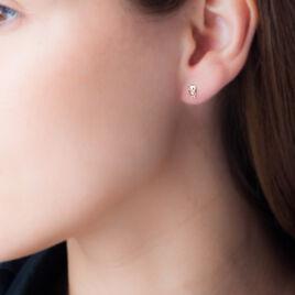 Boucles D'oreilles Puces Helois Hibou Or Jaune Oxyde De Zirconium - Clous d'oreilles Femme | Histoire d'Or