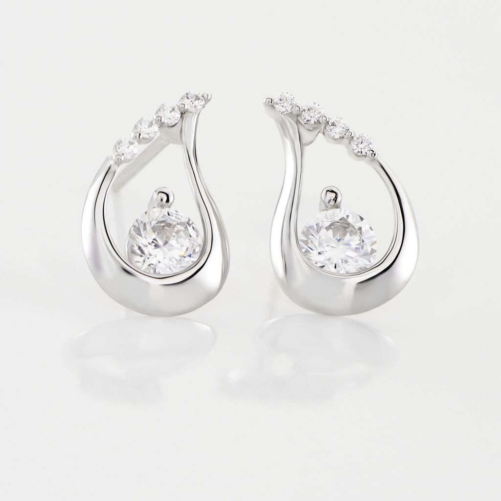 Boucles D'oreilles Puces Helie Goutte Or Blanc Oxyde De Zirconium - Clous d'oreilles Femme | Histoire d'Or