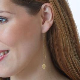 Boucles D'oreilles Pendantes Or Jaune - Boucles d'Oreilles Plume Femme   Histoire d'Or