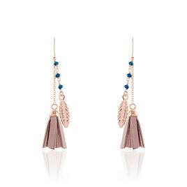 Boucles D'oreilles Pendantes Prisca Argent Rose Pierre De Synthese - Boucles d'Oreilles Plume Femme | Histoire d'Or