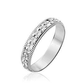 Alliance Fantaisie Diamantee Ruban Plat Or Blanc - Alliances Femme   Histoire d'Or