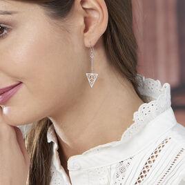 Boucles D'oreilles Pendantes Fidela Argent Blanc - Boucles d'oreilles fantaisie Femme   Histoire d'Or