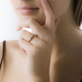 Bague Plaque Or Demi Tour Oxyde - Bagues avec pierre Femme   Histoire d'Or