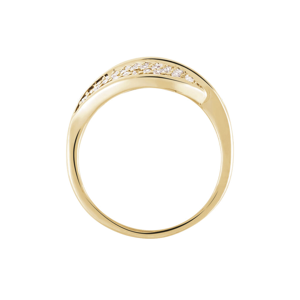 Bague Souad Plaque Or Jaune Oxyde De Zirconium - Bagues Plume Femme   Histoire d'Or