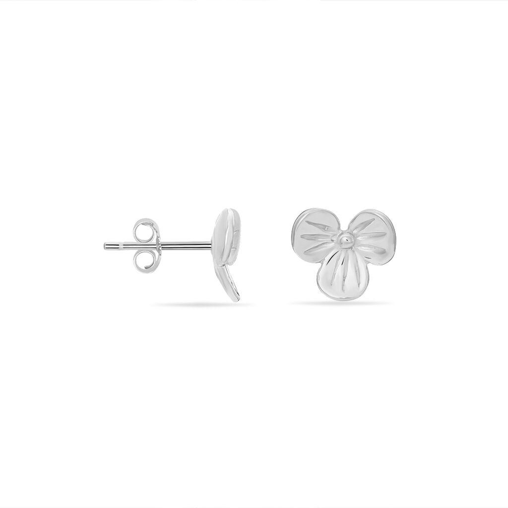Boucles D'oreilles Puces Treflie Argent Blanc - Boucles d'Oreilles Plume Femme | Histoire d'Or