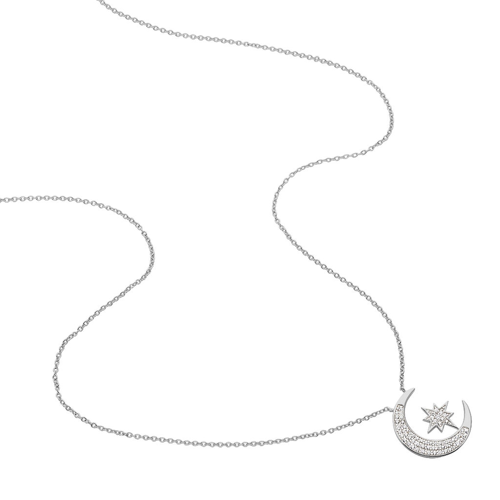 Collier Soleina Argent Blanc Oxyde De Zirconium - Colliers Etoile Femme   Histoire d'Or