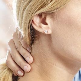 Boucles D'oreilles Puces Pelops Argent Rose Oxyde Et Nacre - Boucles d'oreilles fantaisie Femme   Histoire d'Or