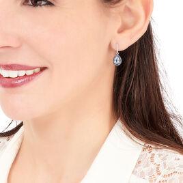 Boucles D'oreilles Puces Kenza Or Blanc Topaze Et Saphir Et Diamant - Boucles d'oreilles pendantes Femme   Histoire d'Or