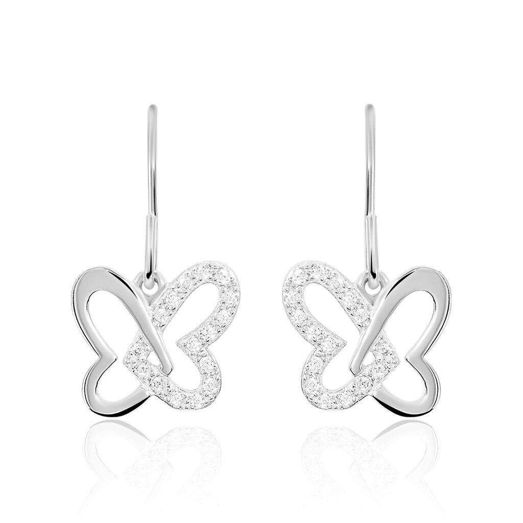 Boucles D'oreilles Pendantes Papillon Argent Blanc Oxyde De Zirconium - Boucles d'Oreilles Papillon Femme | Histoire d'Or