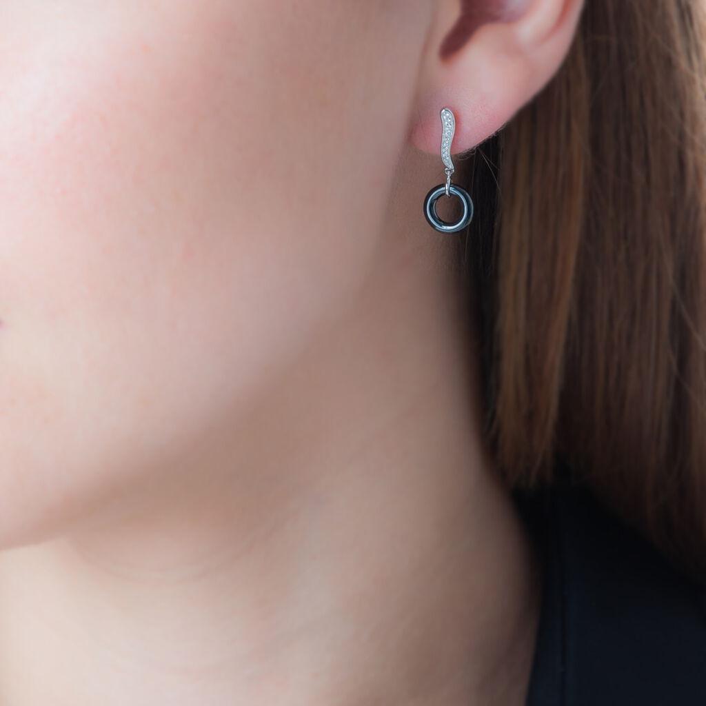 Boucles D'oreilles Pendantes Delphinia Argent Blanc Oxyde De Zirconium - Boucles d'oreilles fantaisie Femme | Histoire d'Or