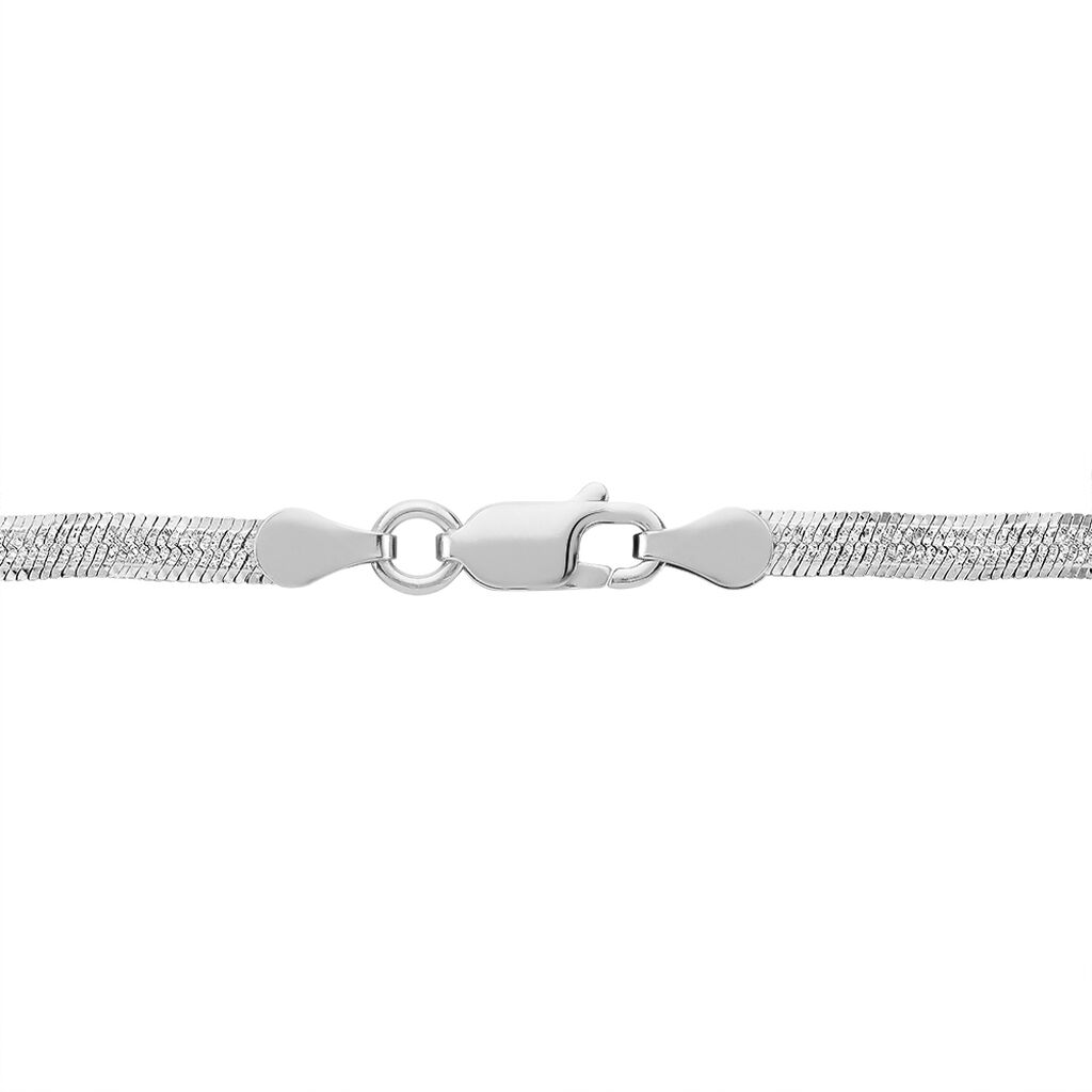 Collier Leonte Maille Heringbone Argent Blanc - Chaines Femme | Histoire d'Or