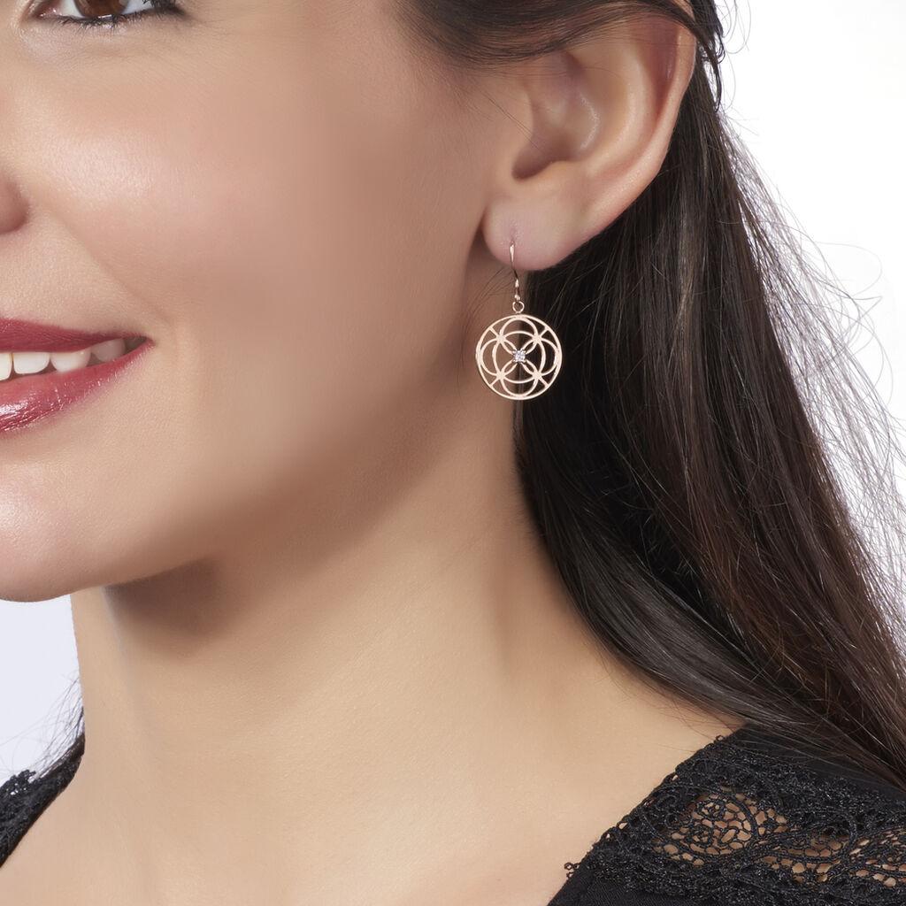 Boucles D'oreilles Pendantes Pelagia Argent Rose Oxyde De Zirconium - Boucles d'oreilles fantaisie Femme | Histoire d'Or