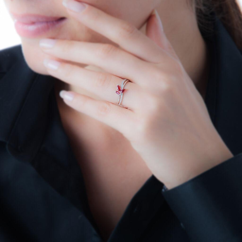 Bague Maura Or Blanc Rubis Et Diamant - Bagues avec pierre Femme   Histoire d'Or