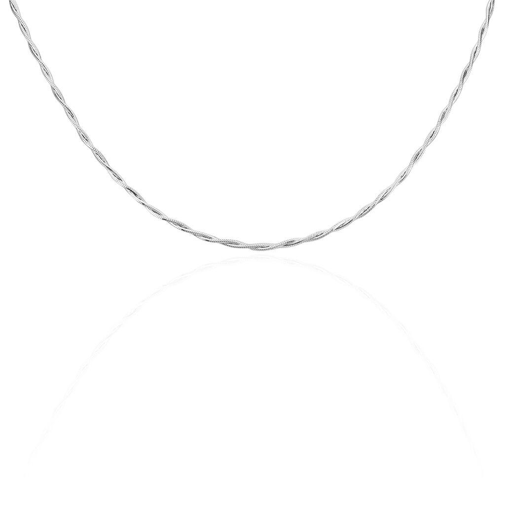 Collier Anaiz Maille Tresse Argent Blanc - Chaines Femme | Histoire d'Or