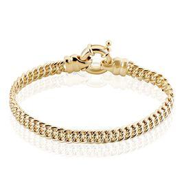 Bracelet Violette Maille Americaine Plaque Or Jaune - Bracelets chaîne Femme   Histoire d'Or