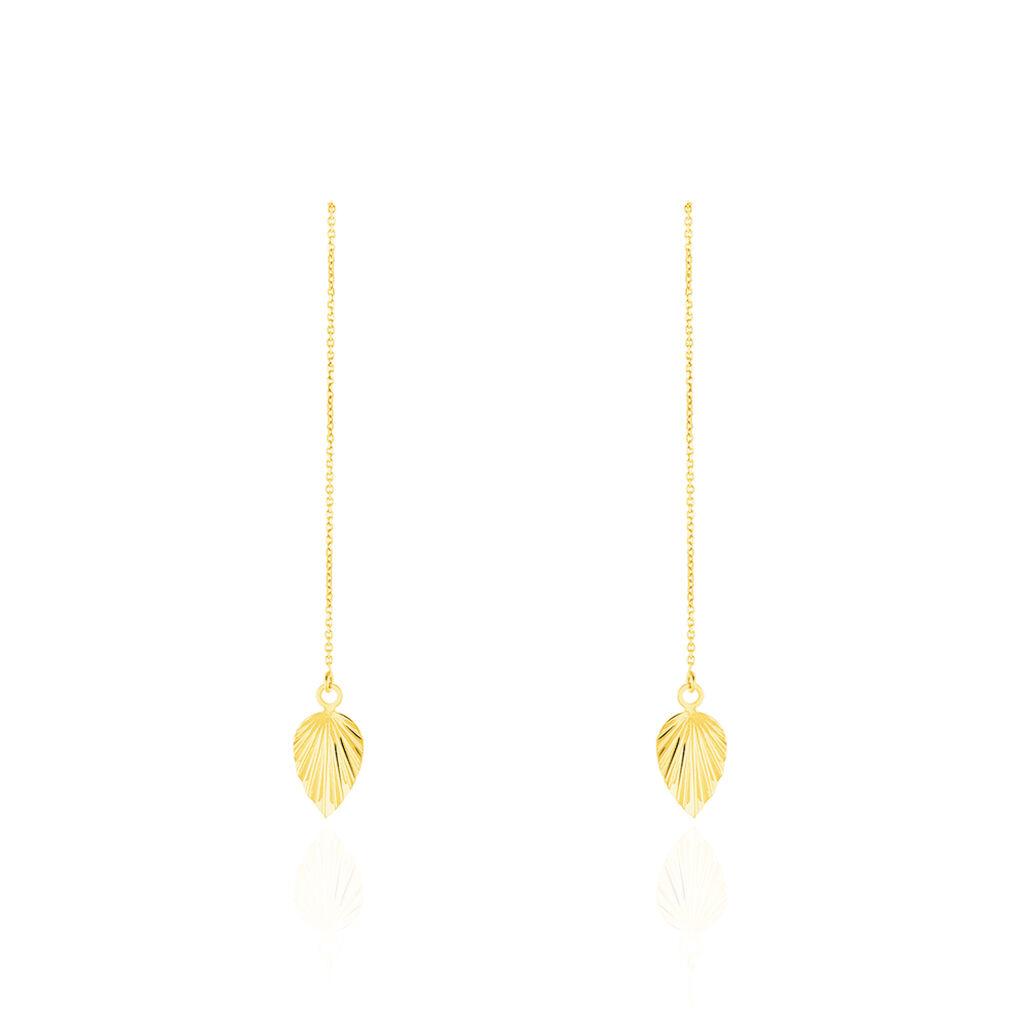 Boucles D'oreilles Pendantes Chrisna Or Jaune - Boucles d'Oreilles Plume Femme   Histoire d'Or
