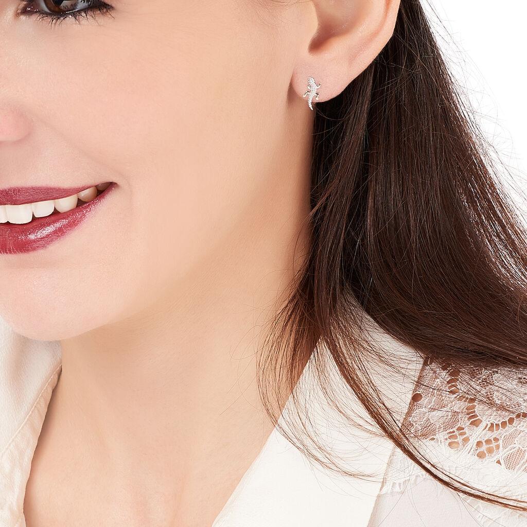 Boucles D'oreilles Puces Azzedine Salamandre Or Bicolore - Clous d'oreilles Femme | Histoire d'Or
