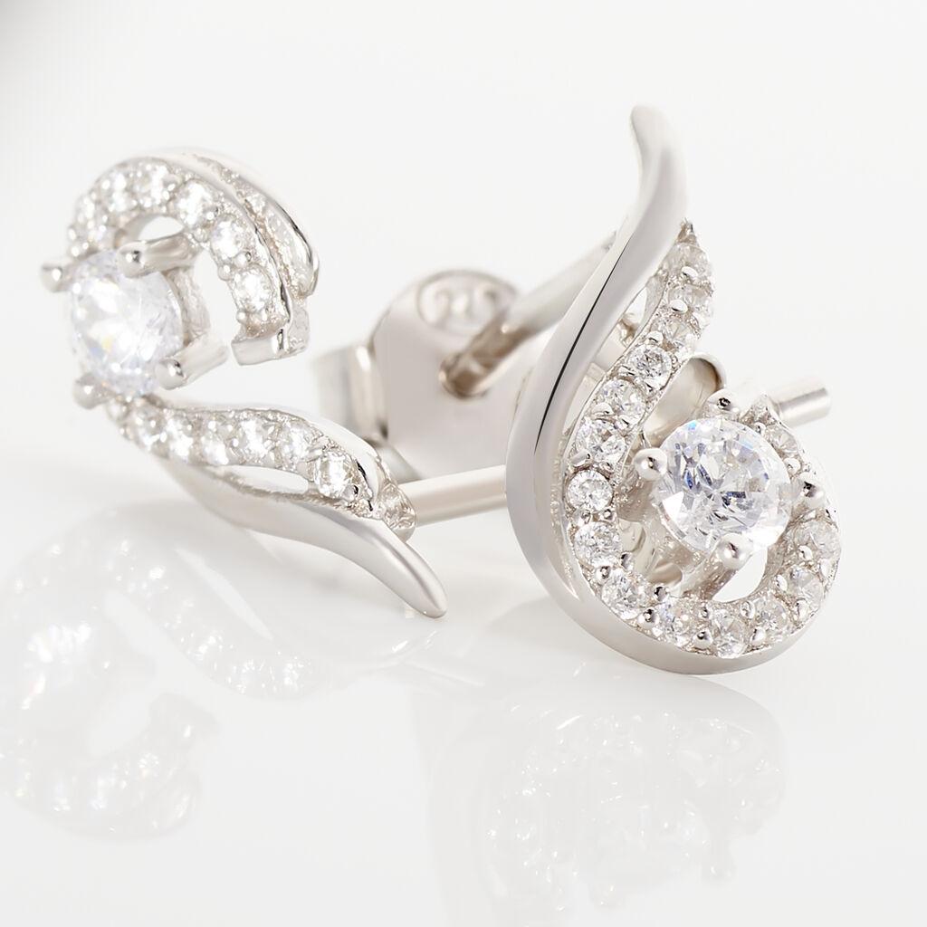 Boucles D'oreilles Puces Indian Drop Argent Blanc Oxyde De Zirconium - Boucles d'oreilles fantaisie Femme | Histoire d'Or