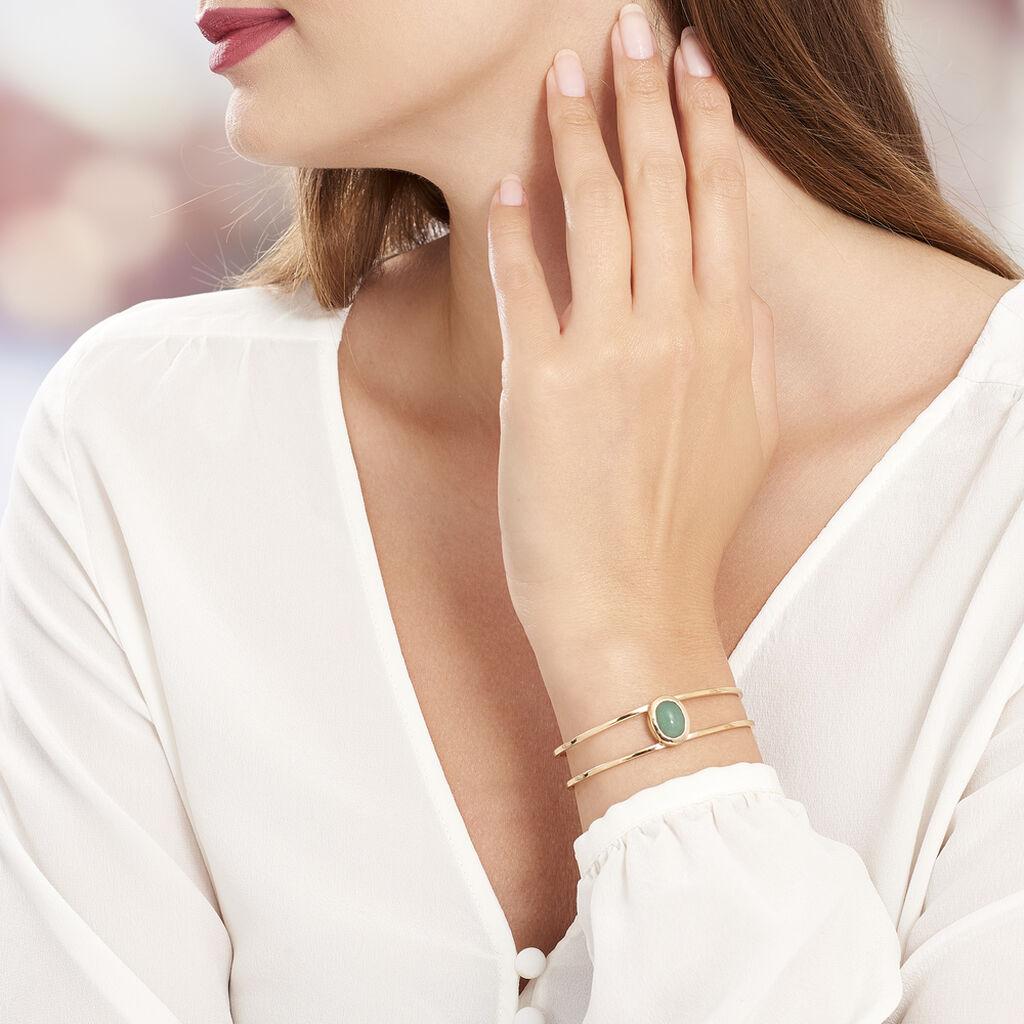 Bracelet Jonc Veina Plaque Or Jaune Aventurine - Bracelets joncs Femme   Histoire d'Or