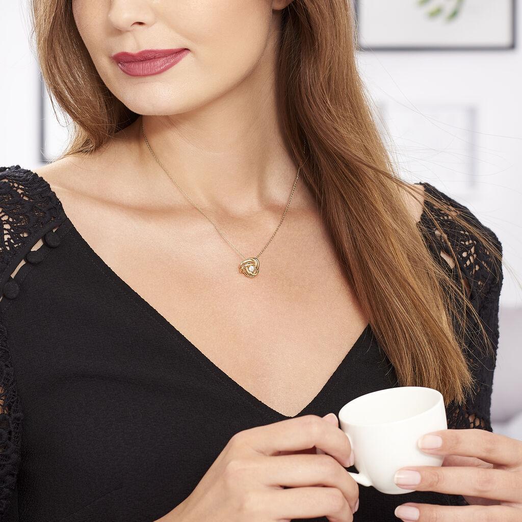 Collier Iwaki Plaque Or Jaune Oxyde De Zirconium - Colliers fantaisie Femme | Histoire d'Or