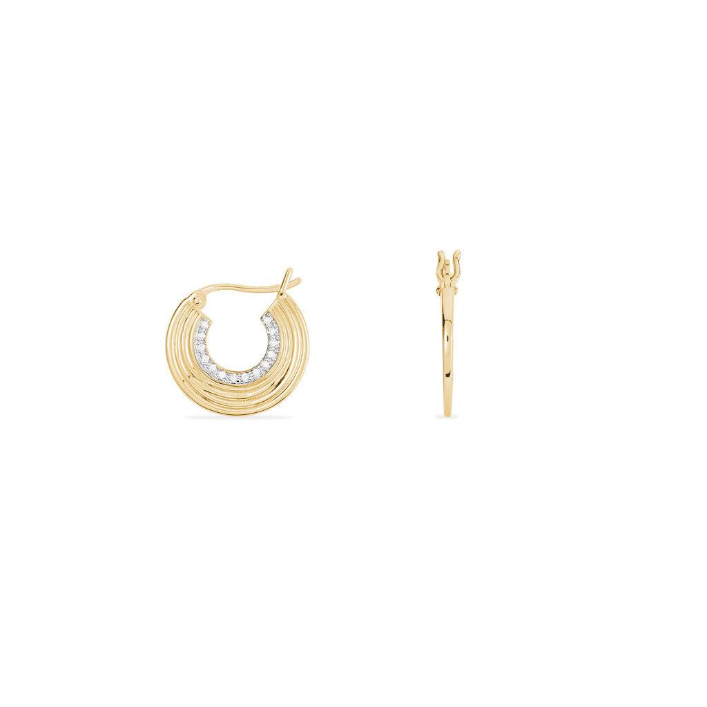 Créoles Rondes Plaque Or Jaune Oxyde De Zirconium - Boucles d'oreilles créoles Femme | Histoire d'Or