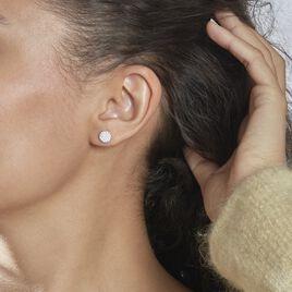 Boucles D'oreilles Puces Melissanne Argent Blanc Oxyde De Zirconium - Boucles d'oreilles fantaisie Femme | Histoire d'Or