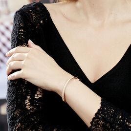 Bracelet Jonc Marie-baptistine Plaque Or Jaune Oxyde De Zirconium - Bracelets joncs Femme   Histoire d'Or