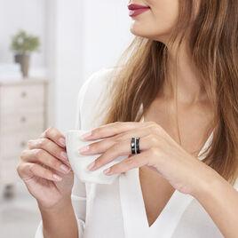 Bague Ceramik Design Argent Blanc Céramique Et Strass - Bagues avec pierre Femme | Histoire d'Or