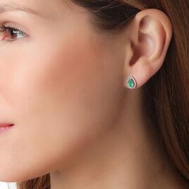 Boucles D'oreilles Puces Toussine Or Blanc Emeraude Et Diamant - Clous d'oreilles Femme | Histoire d'Or