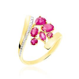 Bague Floraison Or Bicolore Rubis - Bagues avec pierre Femme | Histoire d'Or