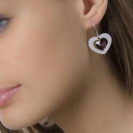 Boucles D'oreilles Pendantes Argent Blanc Pierre De Synthese - Boucles d'Oreilles Coeur Femme   Histoire d'Or