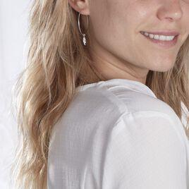 Créoles Massa Pampille Argent Blanc - Boucles d'Oreilles Plume Femme | Histoire d'Or