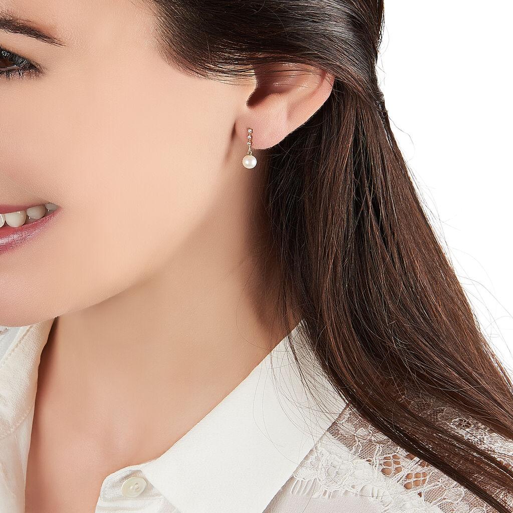 Boucles D'oreilles Pendantes Louise-marie Or Jaune Perle De Culture - Boucles d'oreilles pendantes Femme | Histoire d'Or