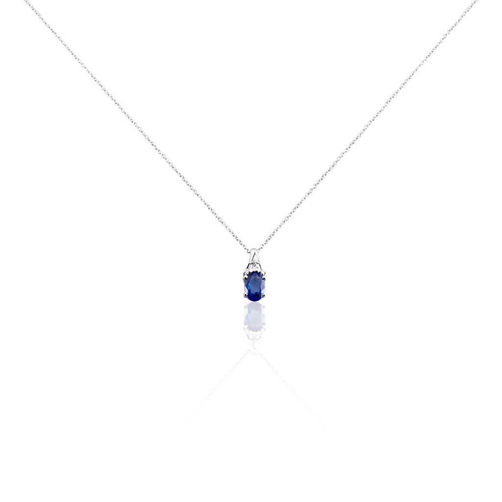 Collier Marie Or Blanc Saphir Diamant - Bijoux Femme   Histoire d'Or