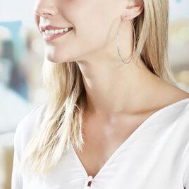 Créoles Olympia Flexible Diamanté Argent Blanc - Boucles d'oreilles créoles Femme | Histoire d'Or