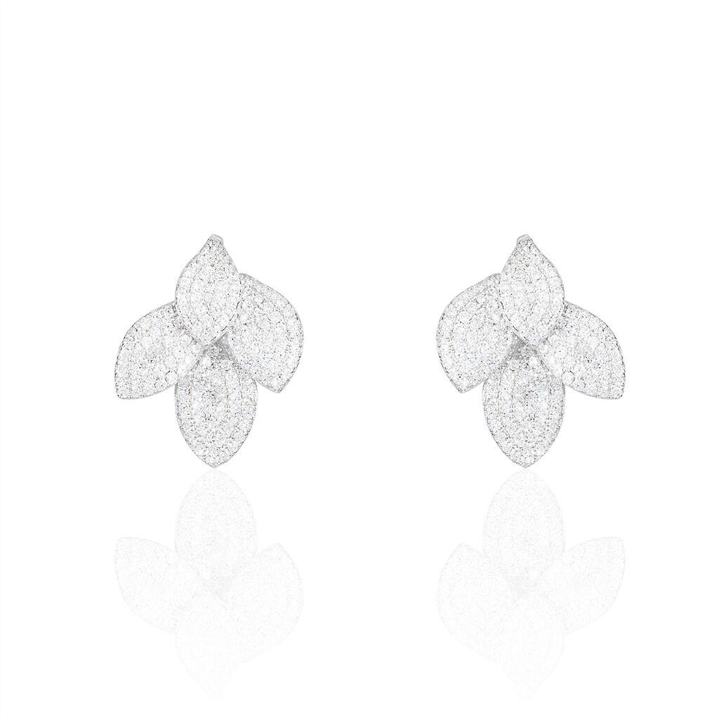 Boucles D'oreilles Puces Argent Blanc Oxyde De Zirconium - Boucles d'Oreilles Plume Femme | Histoire d'Or
