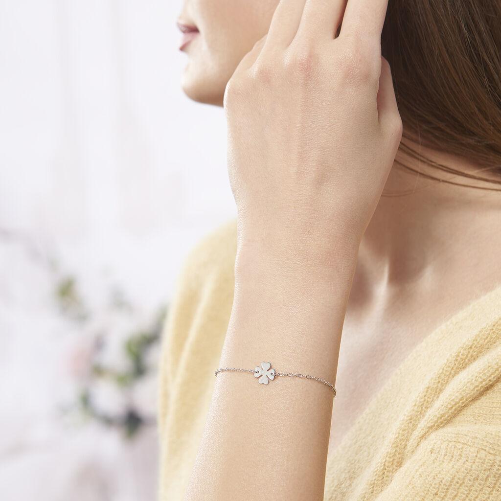Bracelet Naomie Argent Blanc - Bracelets Trèfle Femme   Histoire d'Or