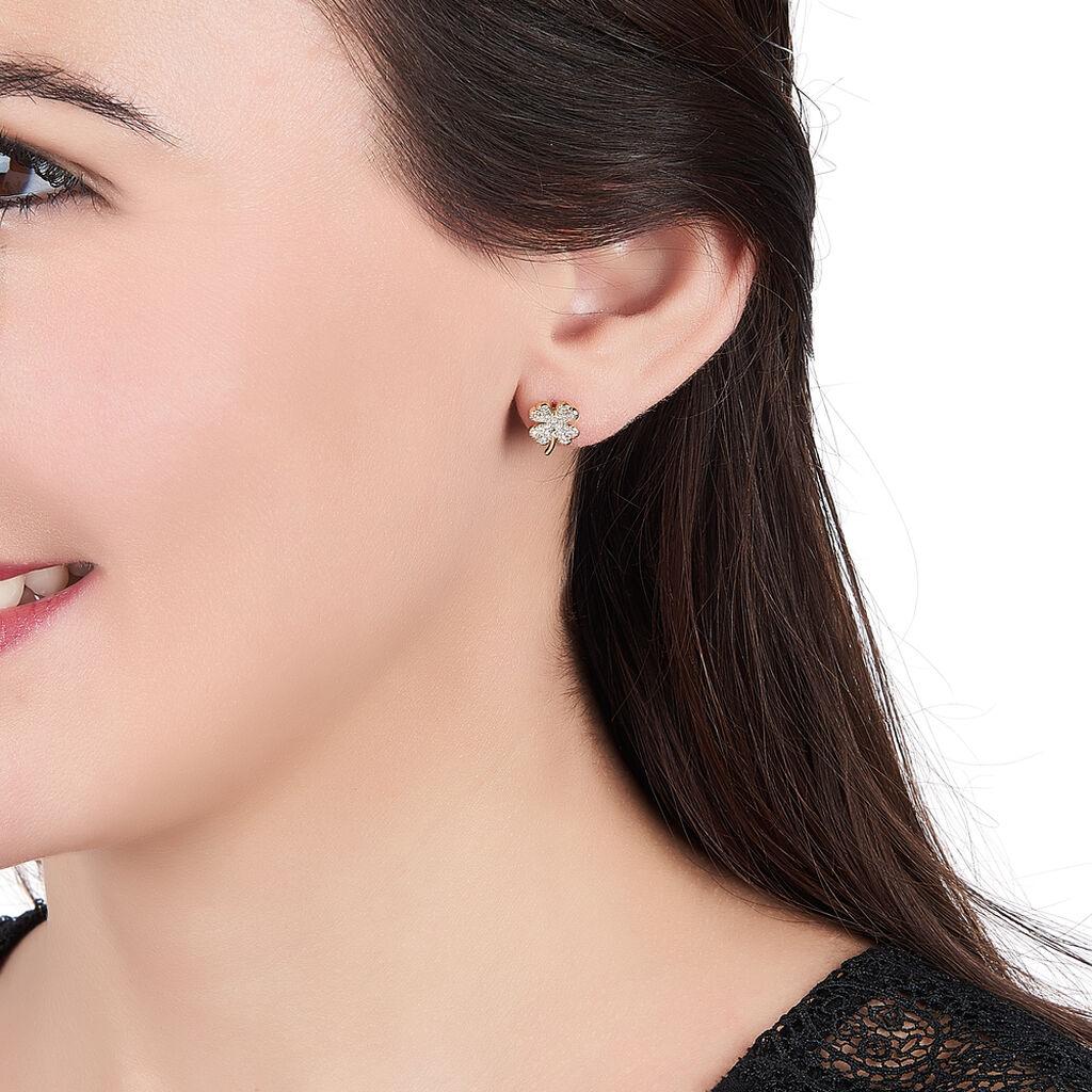 Boucles D'oreilles Pendantes Sadia Plaque Or Jaune Oxyde De Zirconium - Boucles d'Oreilles Trèfle Femme | Histoire d'Or