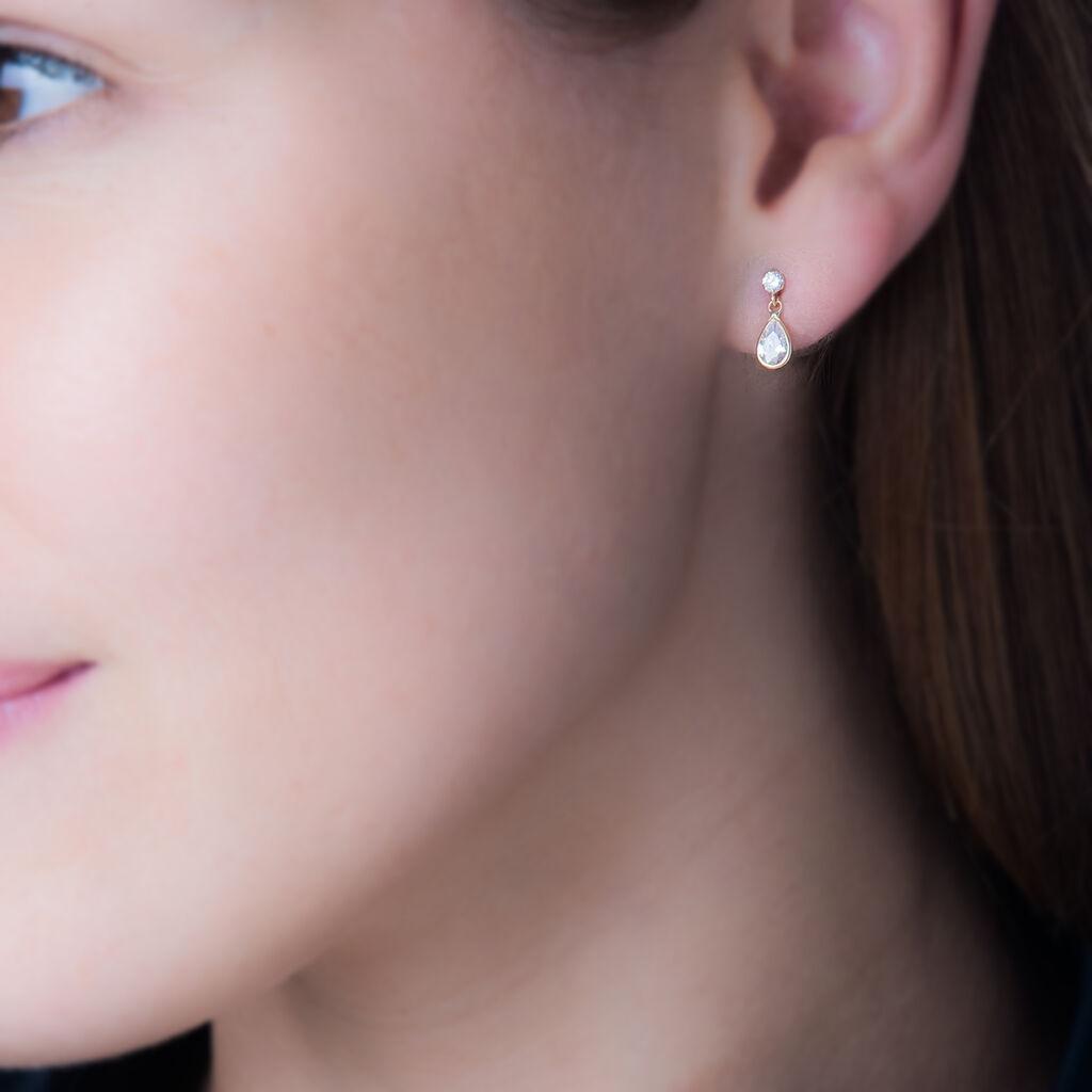 Boucles D'oreilles Pendantes Lika Or Jaune Oxyde De Zirconium - Boucles d'Oreilles Etoile Femme   Histoire d'Or
