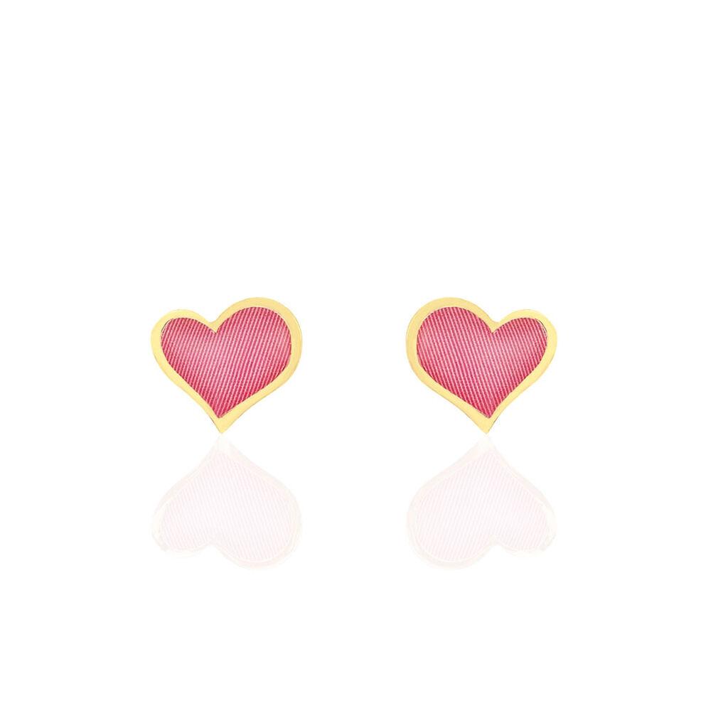 Boucles D'oreilles Puces Or Jaune - Boucles d'Oreilles Coeur Femme   Histoire d'Or