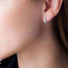 Créoles 2 Fils Rondes Or Jaune Strass - Boucles d'oreilles créoles Femme   Histoire d'Or